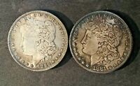 1881 S & 1896  MORGAN DOLLAR COINS UNCLEANED AND UNGRADED
