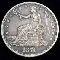 1874 US UNITED STATES $1 ONE SILVER TRADE DOLLAR RARE BETTER