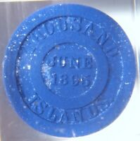 1895 H.W. JOHNS HARD RUBBER MICA TRADE TOKEN PAPERWEIGHT ASBESTOS ROOFING
