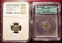 155 130BC SILVER DRACHM INDO GREEK SILVER ORIGINAL AND FOUREE PAIR NGC ICG
