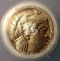 346 BC ANCIENT GREEK LESBOS EL ELECTRUM GOLD SILVER HEKTE 1/6 STATER ANACS EF 40