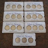 DANBURY MINT MEN IN SPACE SPECIAL MINT ED. STERLING SILVER MEDALS SET 21 PIECES