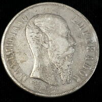 1867 MO MEXICO 1 ONE PESO 27G SILVER EMPIRE MAXIMILIANO I CO