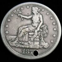 1875 S US UNITED STATES $1 ONE SILVER TRADE DOLLAR HOLED COL