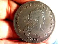 EARLY AMERICAN 1799 BUST SILVER DOLLAR IN  FINE CONDITION