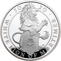 1 OUNCE SILVER PROOF QUEENS BEASTS THE WHITE LION OF MORTIME