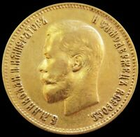 1899 O3 GOLD RUSSIA 10 ROUBLES 8.60 GRAMS NICHOLAS II COIN