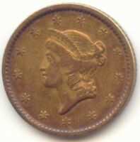 1851 GOLD DOLLAR VF XF DETAILS DEEP TONING TRUE AUCTION NO R
