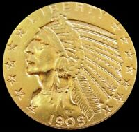 1909 D GOLD US $5 DOLLAR INDIAN HEAD HALF EAGLE COIN DENVER