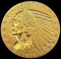 1911 GOLD UNITED STATES $5 DOLLAR INDIAN HEAD HALF EAGLE COI