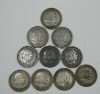 10 PIECE LOT X 1893 SILVER COLUMBIAN EXPO COMMEMORATIVE HALF DOLLARS VF-EXTRA FINE