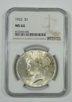 1922 PEACE DOLLAR CERTIFIED NGC MINT STATE 64 SILVER DOLLAR