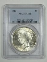 1923 PEACE DOLLAR CERTIFIED PCGS MINT STATE 63 SILVER DOLLAR