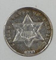 BARGAIN 1859 SILVER THREE-CENT PIECE ALMOST UNCIRCULATED 3C TRIME