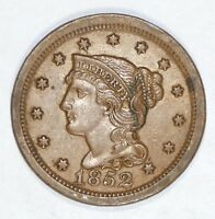 1852 BRAIDED HAIR LARGE CENT ALMOST UNCIRCULATED 1C