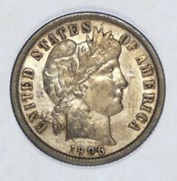 1906 BARBER DIME ALMOST UNCIRCULATED SILVER 10-CENTS