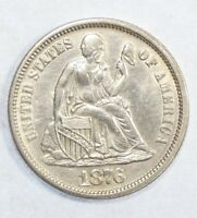 1876 SEATED LIBERTY DIME ALMOST UNCIRCULATED/UNC SILVER 10-CENTS