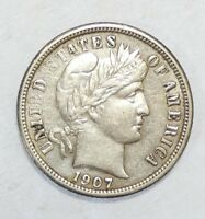 1907-S BARBER DIME EXTRA FINE SILVER 10C