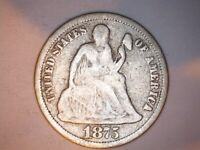 1875 SEATED DIME <> G DETAILS <>   -0117