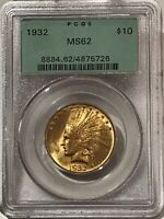 1932 $10 INDIAN GOLD EAGLE PCGS MINT STATE 62 OGH FLASHY LUSTER  4875726