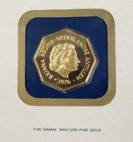 1976 NETHERLANDS ANTILLES PF. GOLD $100 COIN .2300AGW IN F.M