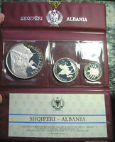 ALBANIA 1970 MINT PACK 4.14OZ SET OF 3 SILVER COINS PROOF