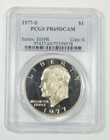 1977-S EISENHOWER CLAD DOLLAR CERTIFIED PCGS PROOF 69 DEEP CAMEO