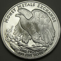 1 OZ SILVER ROUND WALKING LIBERTY MONEY METALS EXCHANGE .999 SILVER 11450