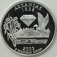2003 S 25C ARKANSAS SILVER STATE QUARTER PROOF UNC 90  SILVER 13630