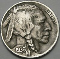 1936 D 5C BUFFALO NICKEL INDIAN HEAD NICKEL FIVE CENTS 13991