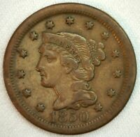 1850 BRAIDED HAIR US ONE CENT PENNY COIN 1C COPPER COIN VF  FINE LARGE CENT