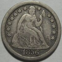 1856 VF/EXTRA FINE  SEATED DIME, LARGE DATE,  DETAILS, SHIPS FREE