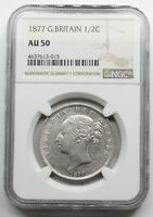 NGC AU50 UK GREAT BRITAIN 1877 VICTORIA YOUNG HEAD HALF 1/2 CROWN SILVER COIN