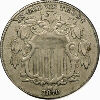 1870 5C SHIELD NICKEL PCGS EXTRA FINE 45  OLD TYPE COIN MONEY