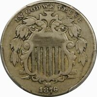 1876 5C SHIELD NICKEL PCGS VF35  OLD TYPE COIN MONEY