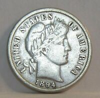 1894 BARBER SILVER DIME  OLD US 10 CENTS