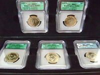 2007 WASHINGTON DOLLAR MISSING EDGE LETTERS 5 COIN SET MINT STATE 67 IN CASE/HOLDER