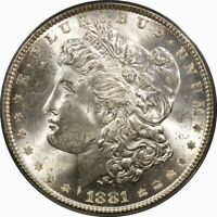 1881 $1 MORGAN SILVER DOLLAR PCGS MINT STATE 64 OGH  OLD TYPE COIN
