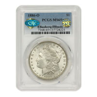 1886-O $1 SILVER MORGAN PCGS MINT STATE 65 CAC CERTIFIED PQ APPROVED ILLINOIS SET COIN