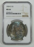 1904-O MORGAN DOLLAR CERTIFIED NGC MINT STATE 64 SILVER DOLLAR  FAB BLUE TONE