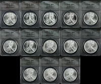 1986-1998 SILVER EAGLE 13 COIN SHORT SET ANACS MINT STATE 69 WE THE PEOPLE EAGLE LABELS