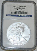 2007-W AMERICAN SILVER EAGLE NGC MINT STATE 69 EARLY RELEASE