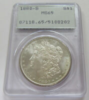 1880-S MORGAN SILVER DOLLAR PCGS MINT STATE 65  OLD RATTLER HOLDER  OGH