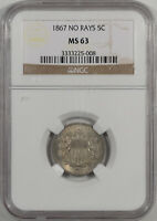1867 SHIELD NICKEL - NO RAYS NGC MINT STATE 63