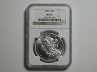 1880-S MORGAN SILVER DOLLAR - NGC MINT STATE 64