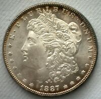 1887 MORGAN SILVER DOLLAR $1 US DOLLAR COIN UNCIRCULATED PL PROOF LIKE COIN