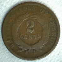 1864 UNITED STATES BRONZE TWO CENT SHIELD COIN 2C US COIN GOOD PHILADELPHIA
