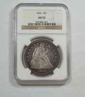 1846 LIBERTY SEATED DOLLAR CERTIFIED NGC AU 55 SILVER $