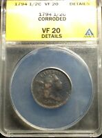 1794 LIBERTY CAP HALF CENT 1/2C ANACS VF20 DETAILS CORRODED