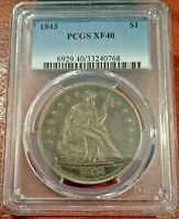 1843 LIBERTY SEATED DOLLAR $1  SUPER ORIGINAL TONING  PCGS  FINE 40